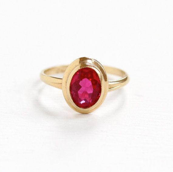 Sale Vintage 10k Yellow Gold Created Ruby Ring Size 3 1 2 Etsy Fine Antique Jewelry Antique Rings Vintage Featured Jewelry