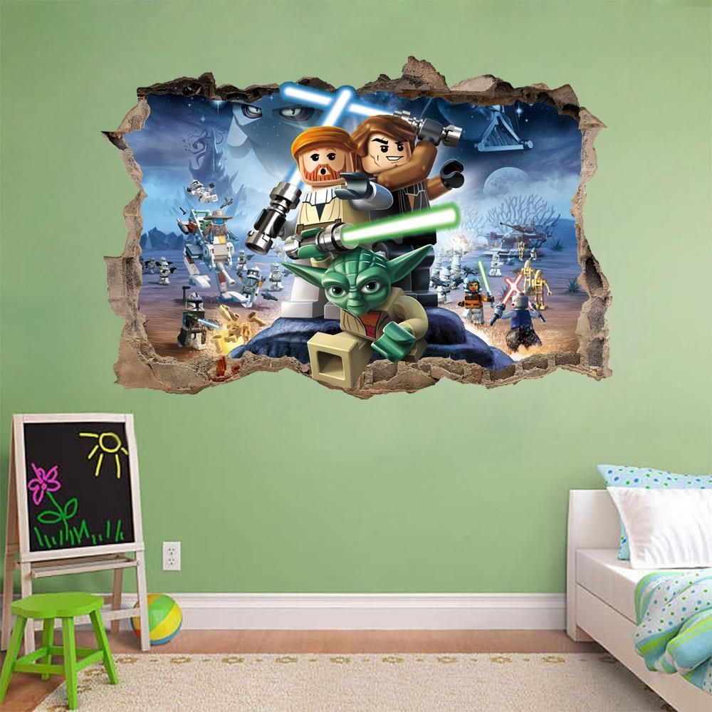 lego star wars smashed wall 3d decal removable graphic wall