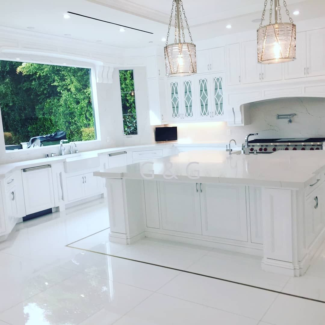 Custom All White Kitchen Countertops With White Backsplashes And