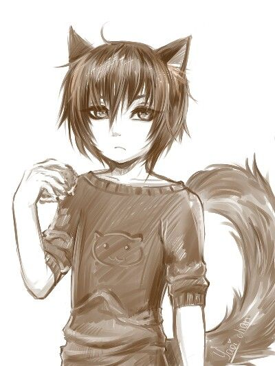 Brown Anime Boy Wolf Drawing Anime Wolf Cara Del Lobo Anime Masculino