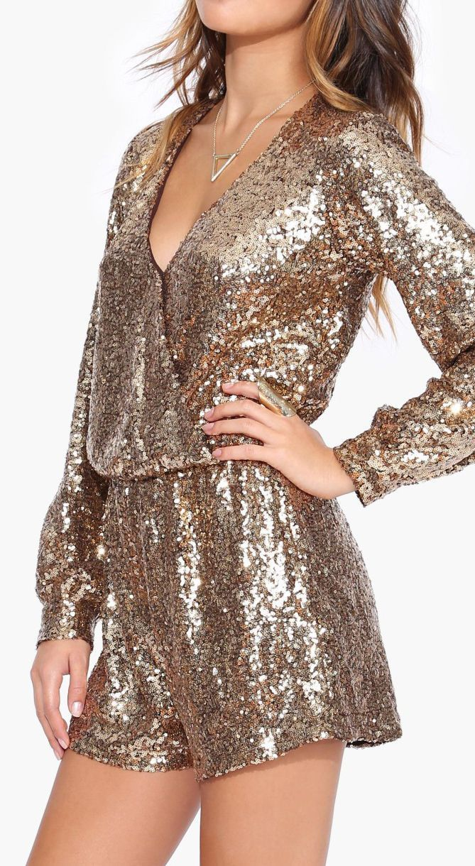 fashion gold shimmer romper lovely party comfy