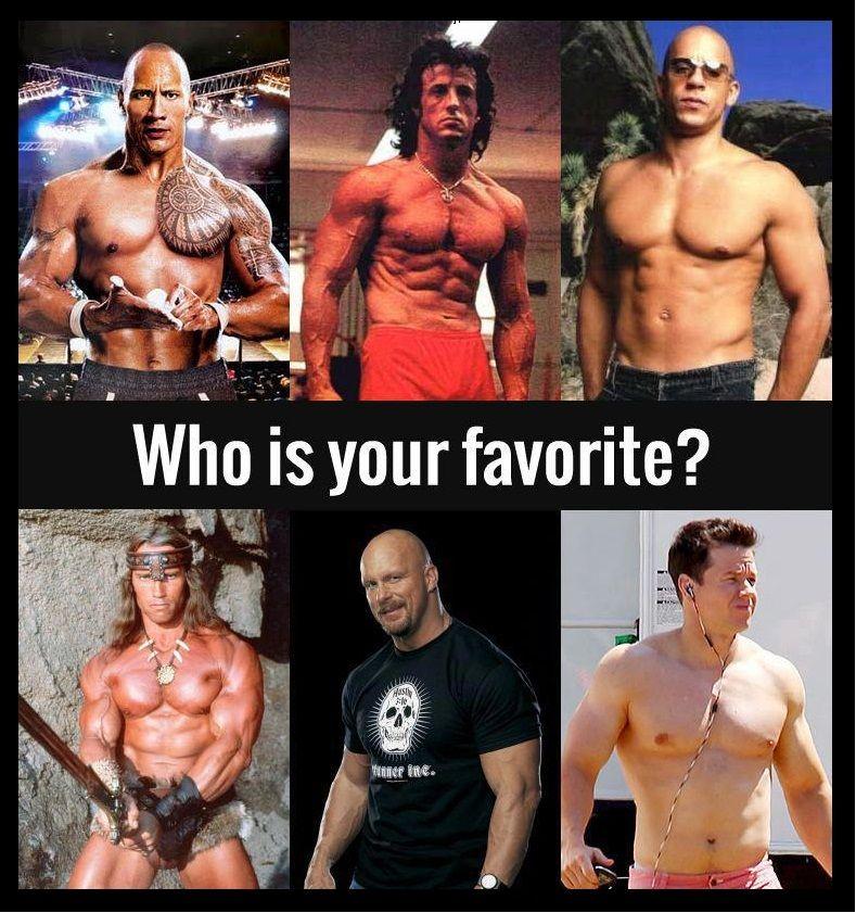 Dwayne The Rock Johnson Sylvester Stallone Vin Diesel Arnold Schwarzenegger Stone Cold Steve Austin Or Mark Wahlberg