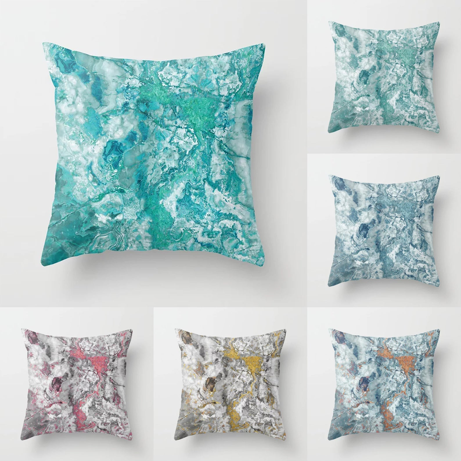 Marble Throw Pillow Indoor Outdoor Cushion Cover Case Aqua Etsy Outdoor Cushion Covers Throw Pillows Outdoor Pillow Covers
