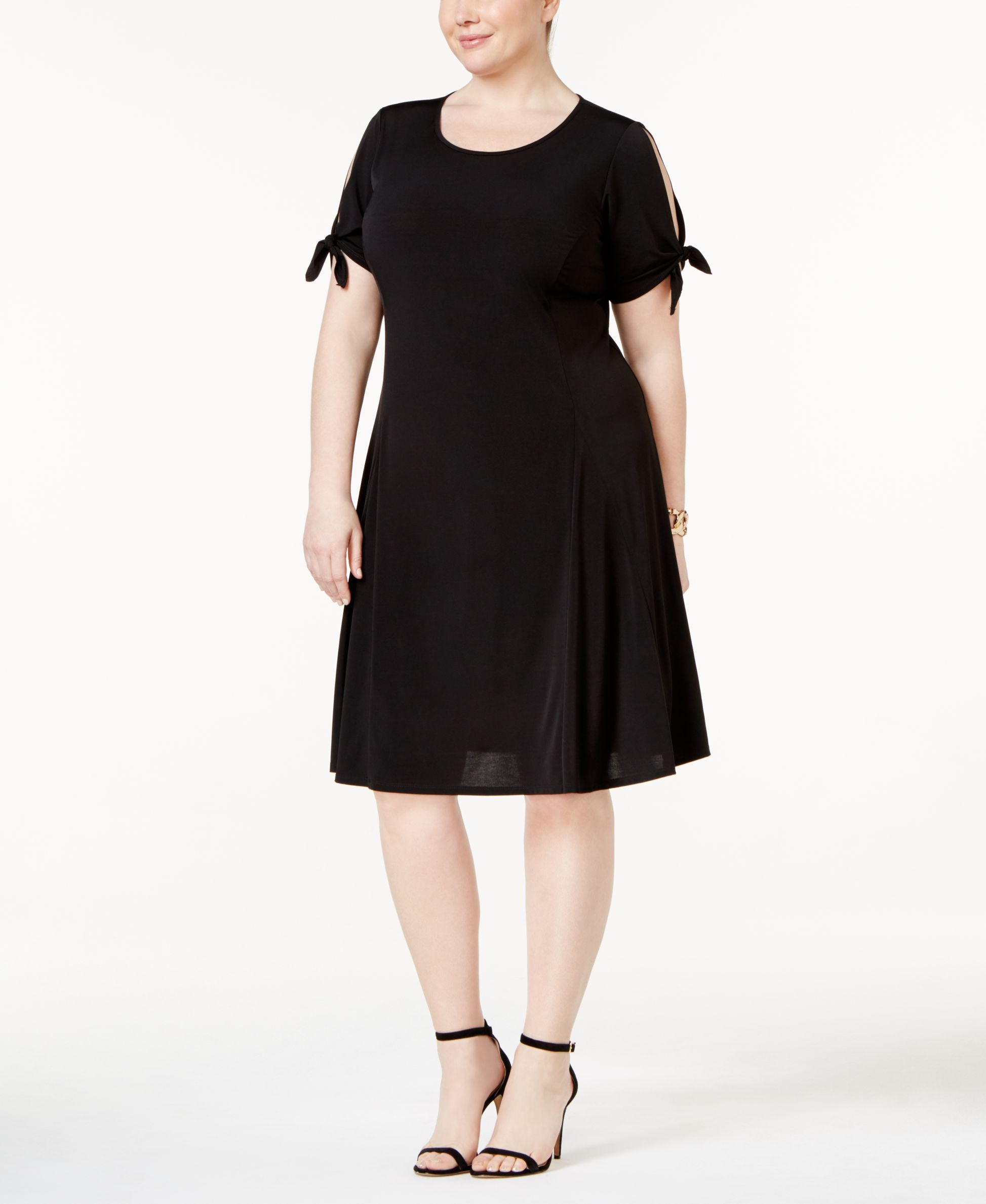 Ny Collection Plus Size Cold-Shoulder Fit & Flare Dress