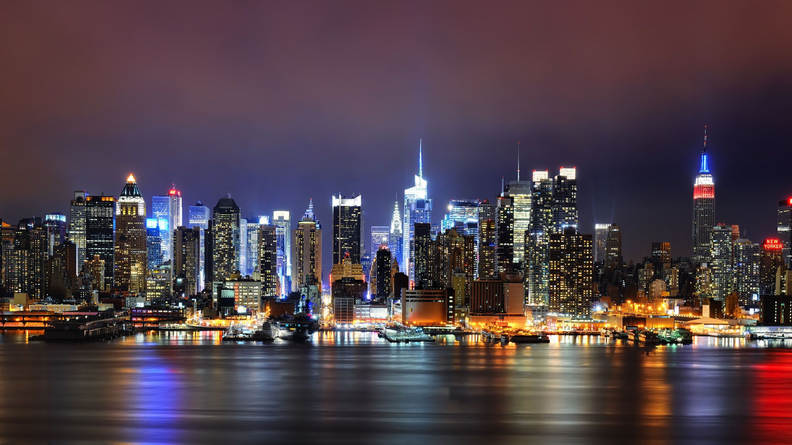 New York City Night Lights Wallpaper New York Hintergrundbild