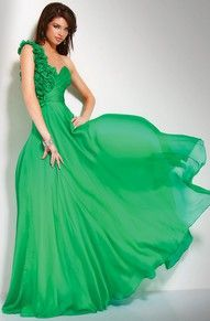 Love the green one shoulder style.
