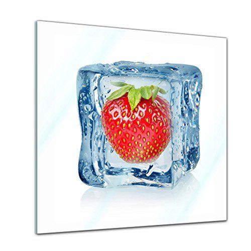 """Bilderdepot24 Glasbild """"Eiswürfel Erdbeere"""" 30x30cm - Dek... https://www.amazon.de/dp/B01FMM6F9K/ref=cm_sw_r_pi_dp_x_BuWsybMPY9RX3"""