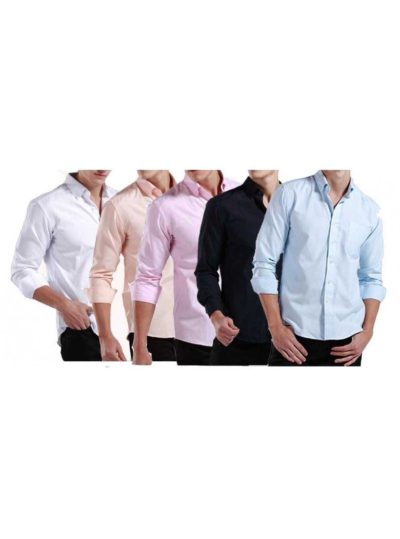 7ac5fa446e9 Buy Pack Of 5 Formal Plain PC Cotton Shirts -(White