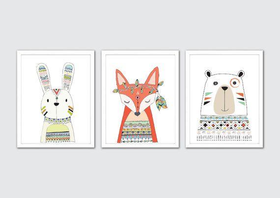 Stammes-Kinderzimmer Kunst Stammes-Animal Prints von RomeCreations