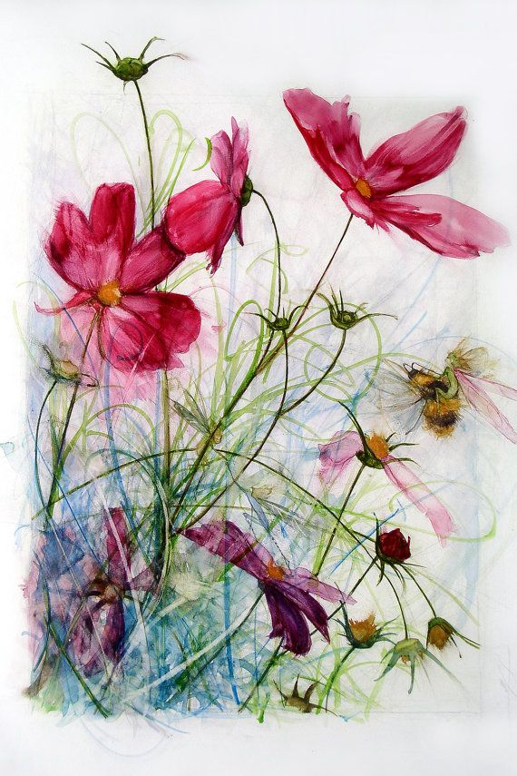 Cosmos By Bonnie Bews On Etsy Floral Painting Flower Painting