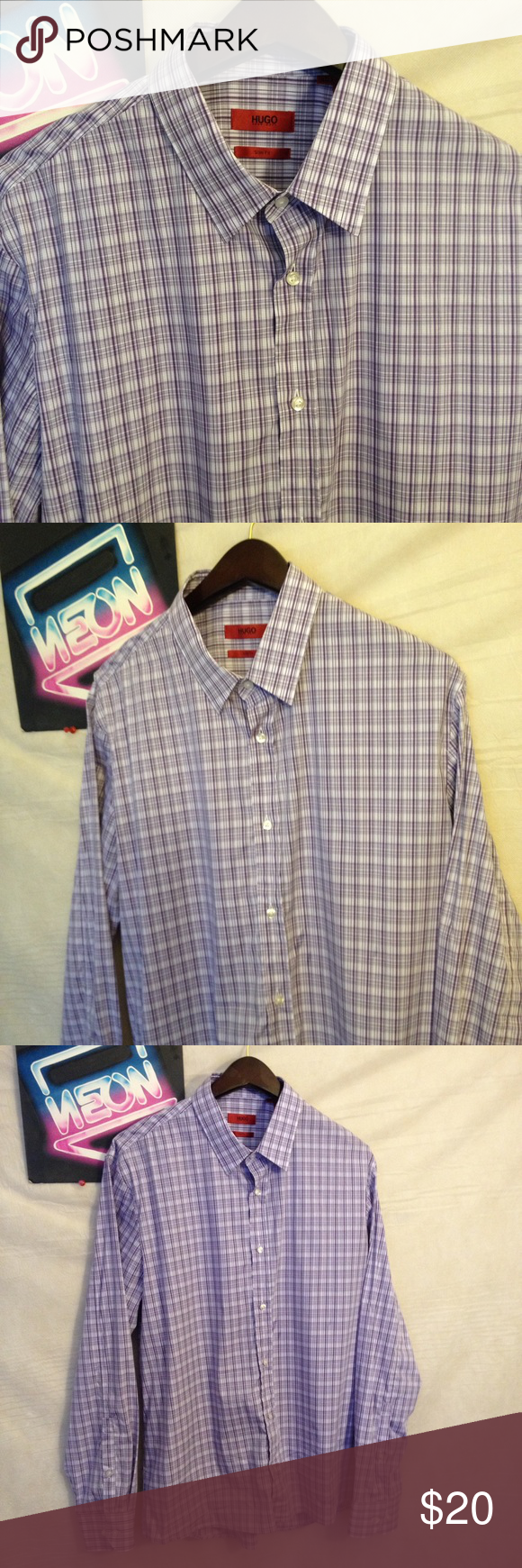 444af5050e Hugo Boss Men s Purple Cotton Shirt Size XL Hugo Boss Men s Purple Cotton Shirt  Size XL in very good condition. 1 day handling shipping from smoke free ...