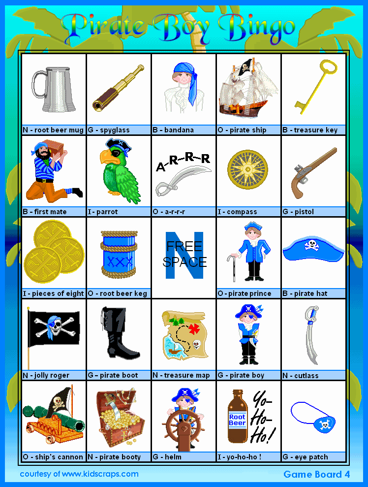 FREE Printable Pirate Boy Bingo - Games at Kid Scraps ...