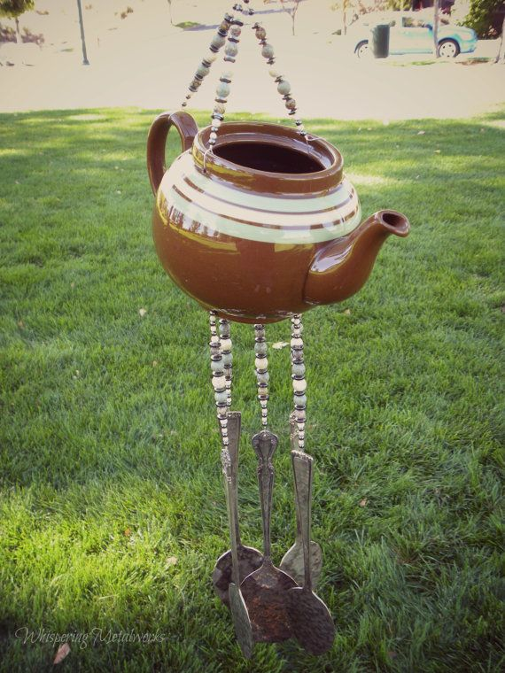 Wind chime ceramic tea pot  stone beads by WhisperingMetalworks, $103.50