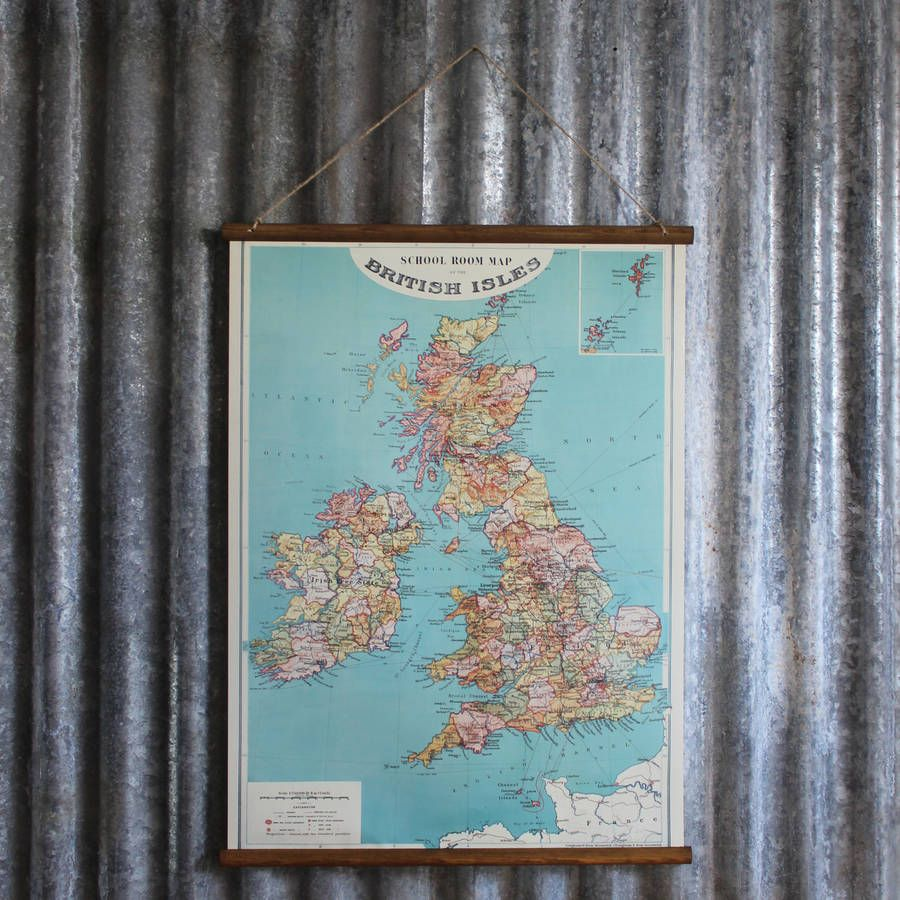 School Room Map Of The British Isles Wall Hanging
