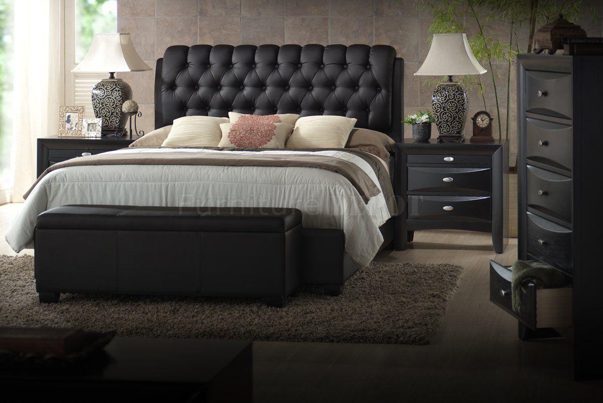 Black Finish Transitional Bedroom Set w/Upholstered