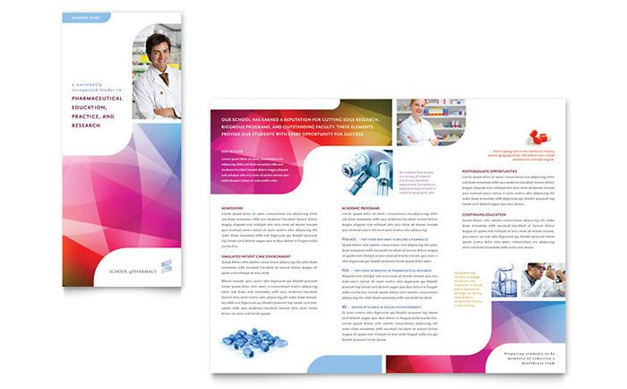 Pharmacy School Tri Fold Brochure Design Template by StockLayouts - school brochure template