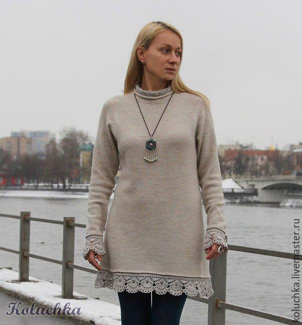 1f19467139d Платье-туника с кружевом – купить или заказать в интернет-магазине на  Ярмарке Мастеров