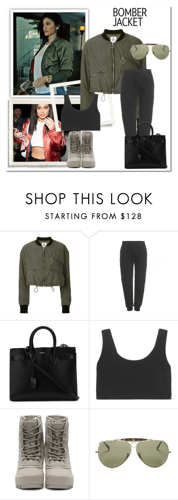 """""""bomber jacket"""" by nuria2223 ❤ liked on Polyvore featuring mode, UNIF, adidas Originals, Yves Saint Laurent, Ray-Ban, women's clothing, women, female, woman en misses"""