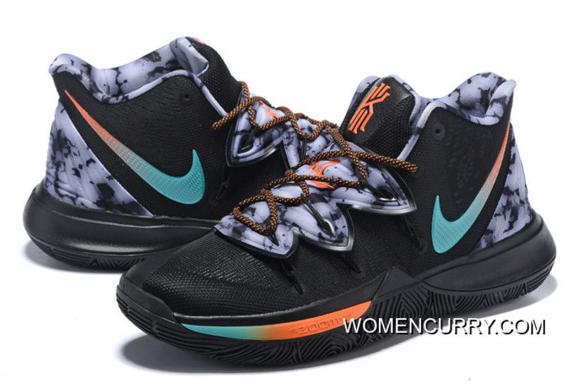 3d72ab7e0dc0 New Release Nike Kyrie 5 Black Blue-Orange-Grey