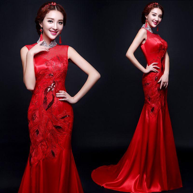 Embroidered red satin chiffon mermaid trailing dress