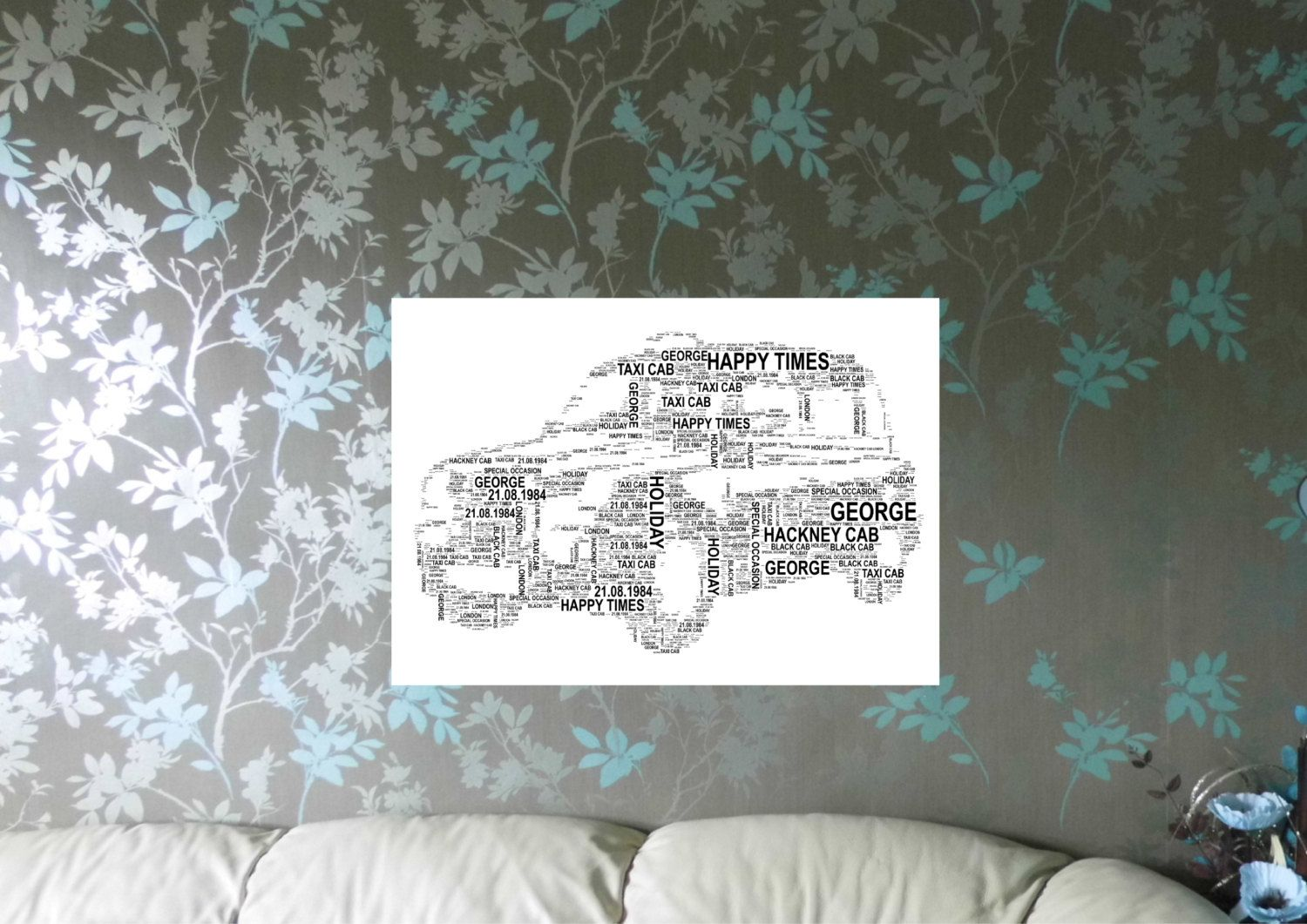 Black Taxi Cab/Hackney Cab Personalised Word Art. FREE UK P&P. Birthday, Retirement, Leaving, Special Occasion, - pinned by pin4etsy.com