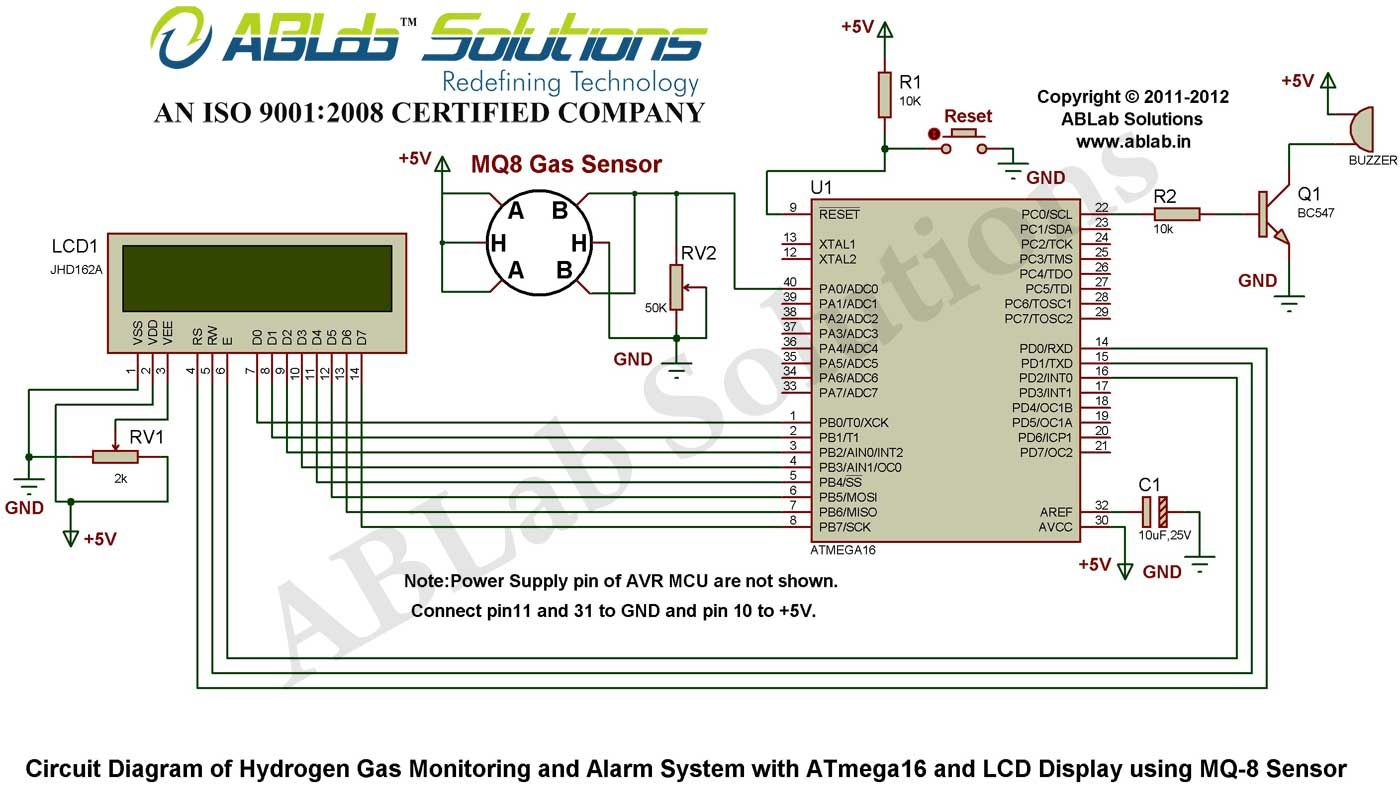 Hydrogen Gas Monitoring And Alarm System With Avr Atmega16 Microcontroller Based Fire Circuit Diagram Lcd Display Using Mq 8 Sensor