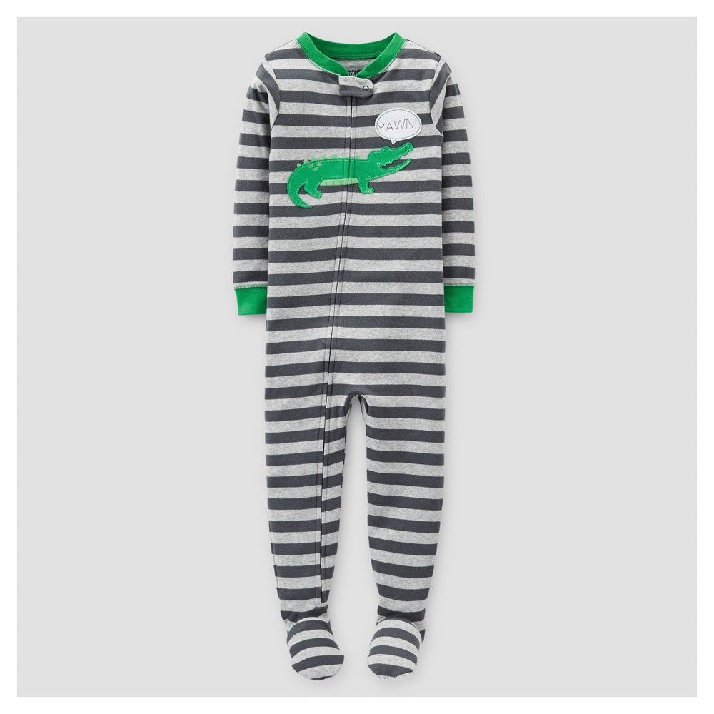 eeba6ff88 Baby Boys  Footed Pajama Sleeper Gray Stripe Alligator 18M - Just ...