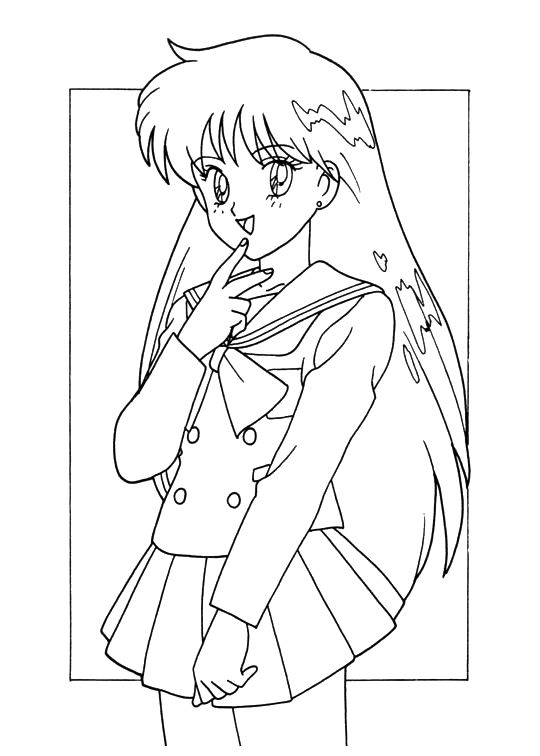 Anime Schools Girls Sailor Moon Coloring Pages Anime School Girl Coloring Pages