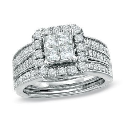 Perfect Princess Cut Quad Diamond Bridal Set in White Gold at Zales Previously Owned CT Princess Cut Quad Diamond Bridal Set in White Gold