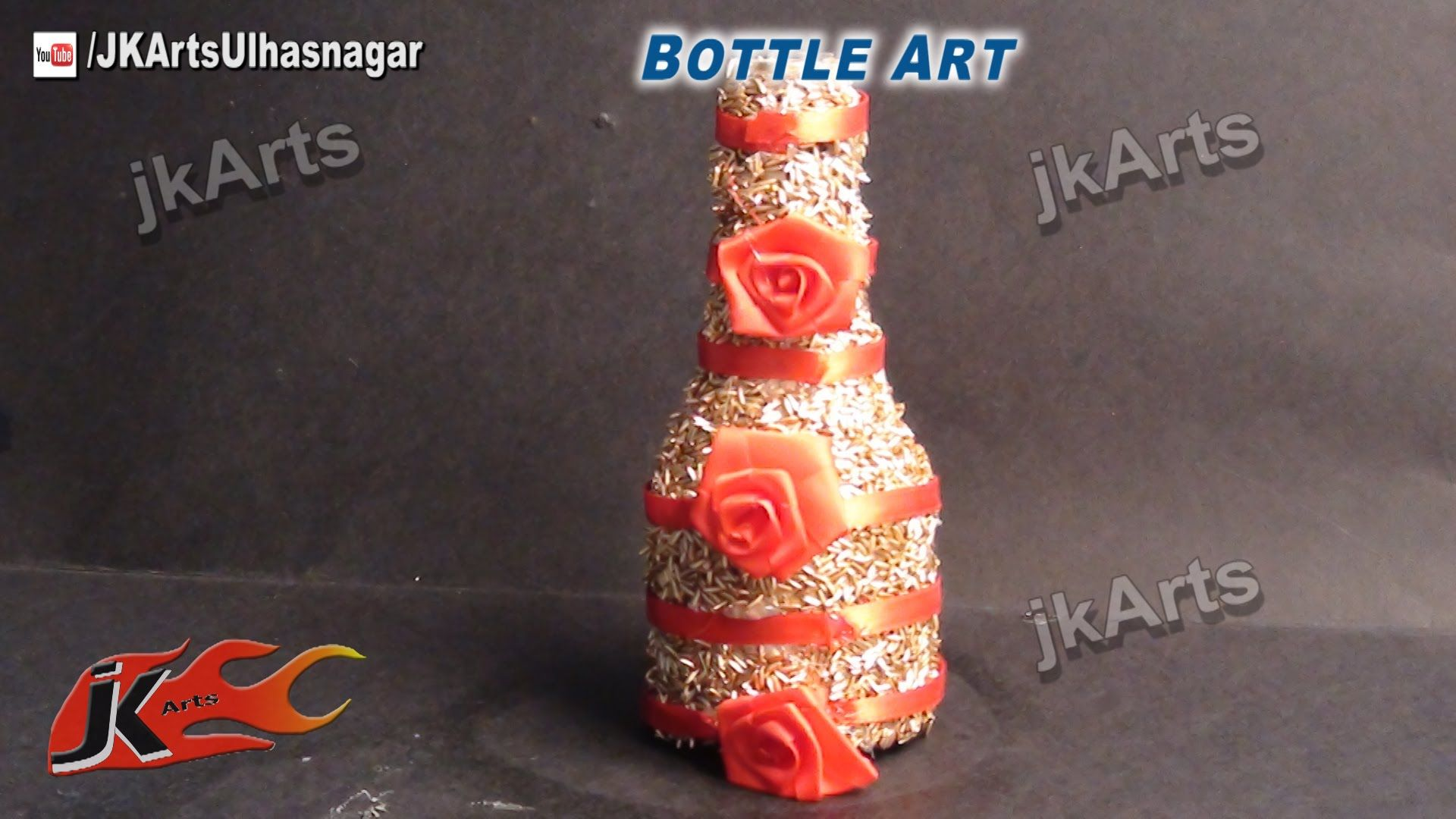 How To Use Waste Bottles For Decoration How To Decorate Glass Bottle With Rice Best Out Of Waste  Jk