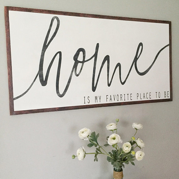 Photo of Home is My Favorite Place To Be- Home Wood Sign- Large Wood Sign- Mantle Decor- …