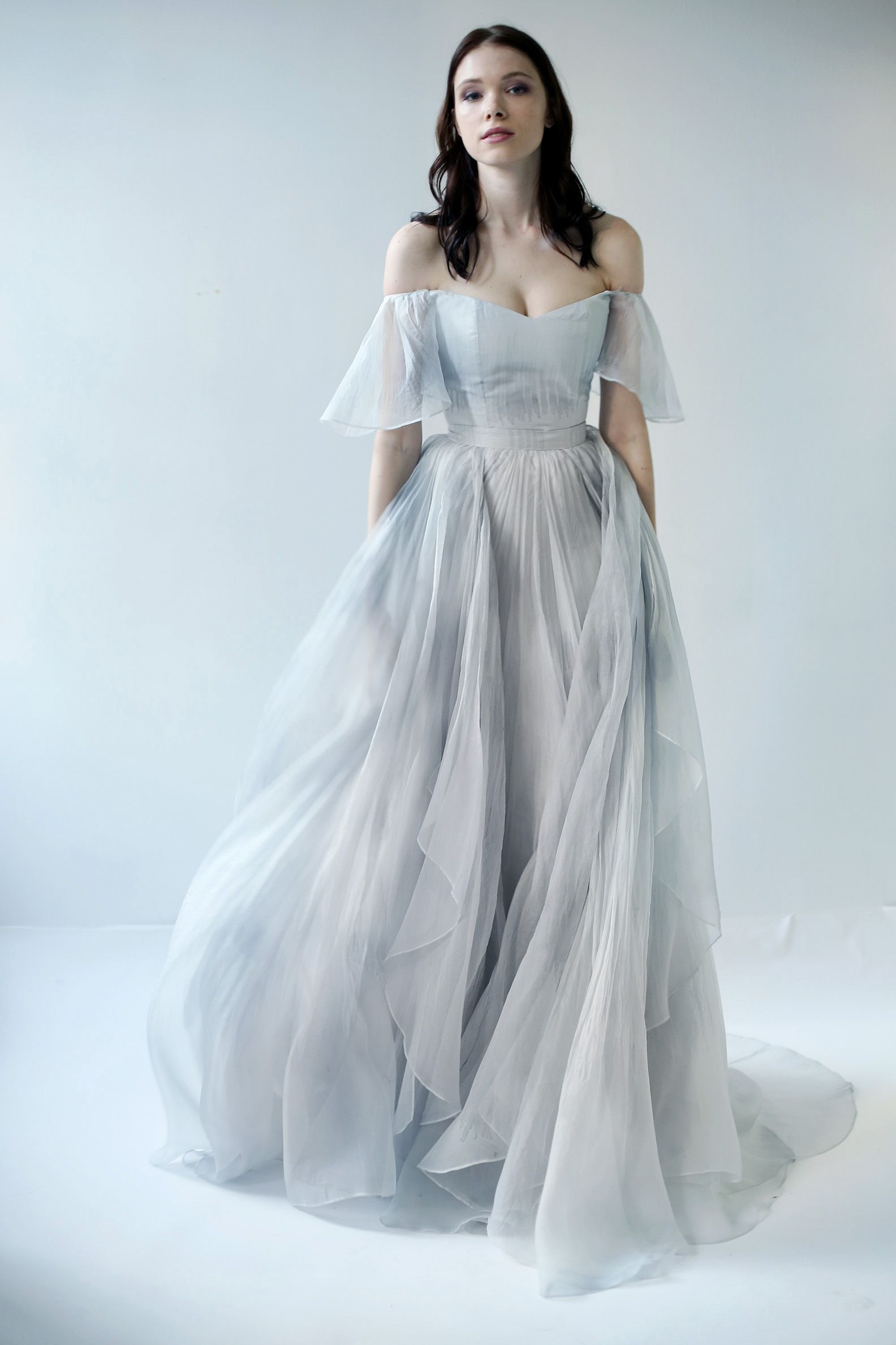 d167cb19a17 The Raincloud skirt is a separates piece. It is a dove gray and blue  printed and textured silk organza .