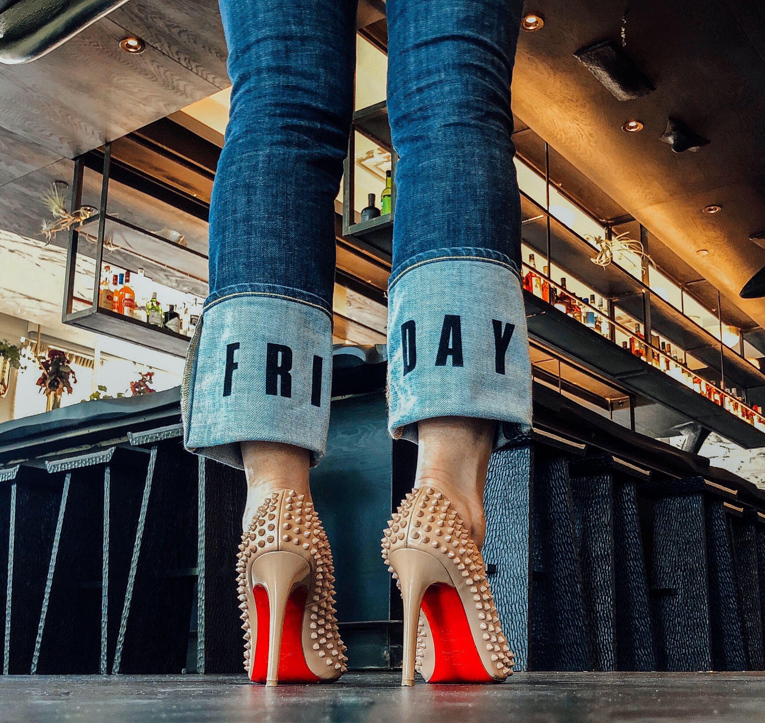 DIY denim Christian Louboutin shoes