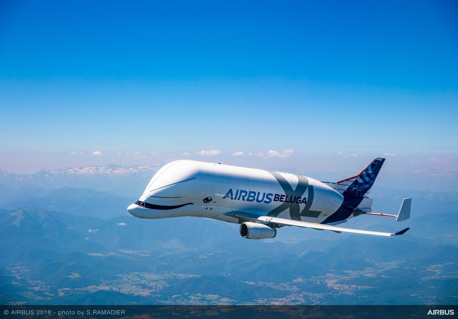 Flying Whale Airbus Belugaxl Takes Flight Whale Cargo Aircraft