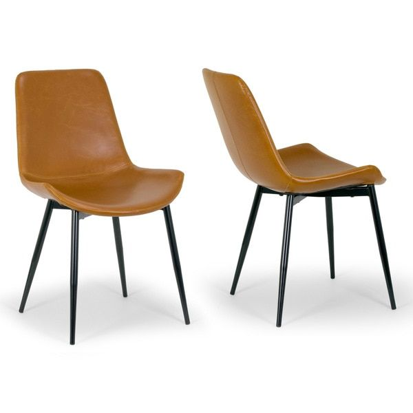Alary Caramel Brown Faux Leather Modern Dining Chair Set Of 2