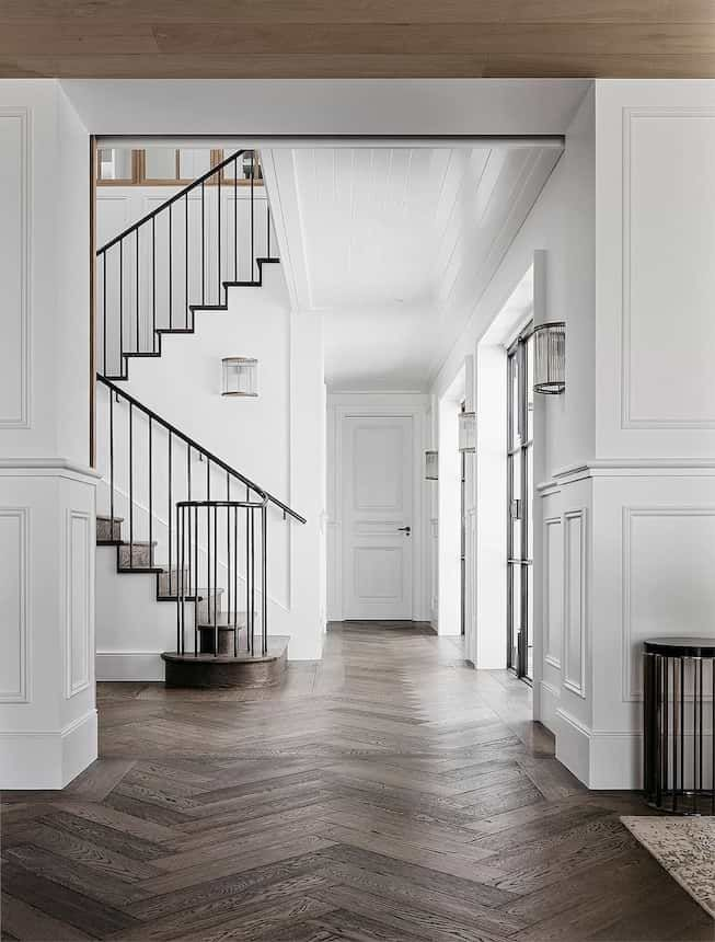 White gallery hallway staircase dark wood flooring beautiful homes home interiors houses also for the rh pinterest