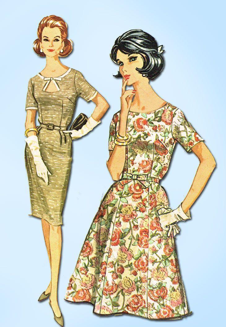1960s Vintage McCalls Sewing Pattern 6778 Plus Size Keyhole Dress ...