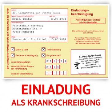 #Einladungskarten Als #Krankschreibung In Gelb Und Mit Eigenem Text.  Http://www.kartenmachen.de/shop/einladungskarte Als Rezept Gelb 213.html  Eine Lustige ...