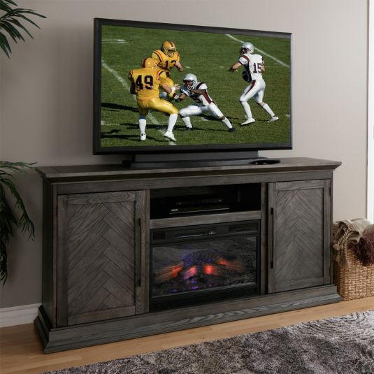 Bowerly Tv Console With Fireplace In Grey Jerome S Furniture