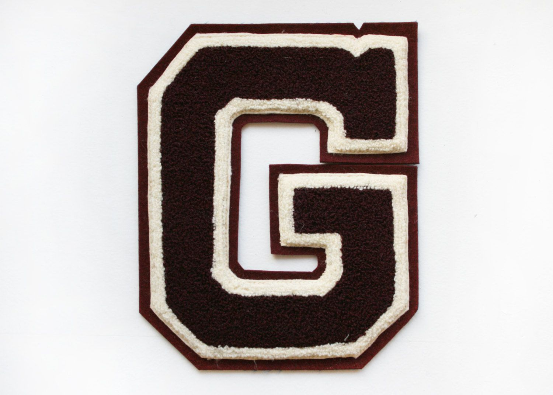 Vintage maroon varsity letter quotgquot jacket patch 2200 for Varsity letter applique