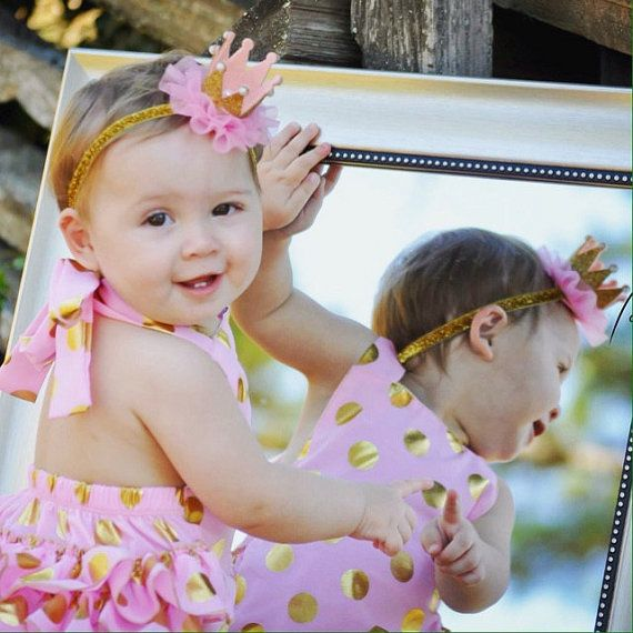 Pink Gold 1st Birthday Girl Outfit Gold Pink By Pinkaliciousgirl 1st Birthday Girls Gold First Birthday Outfit Birthday Girl Outfit