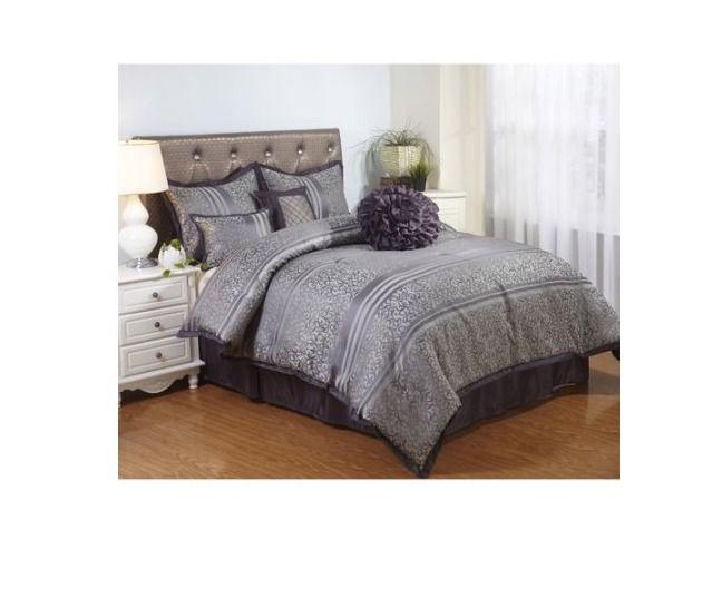 Queen Size Bedding 7-Piece Comforter Set Purple Shames Bed Skirt ...