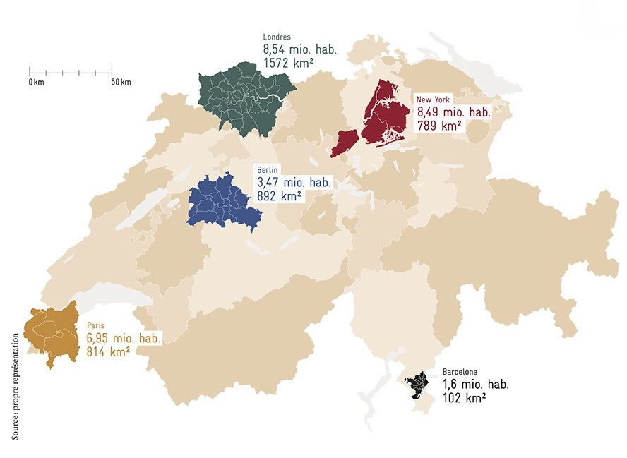 A map of Switzerland showing how some global cities occupy a smaller ...