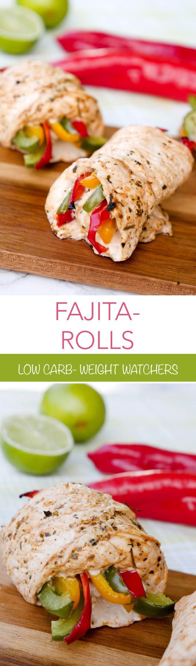 Schnelle Low Carb Hähnchen Fajita Röllchen #recipeforchickenfajitas