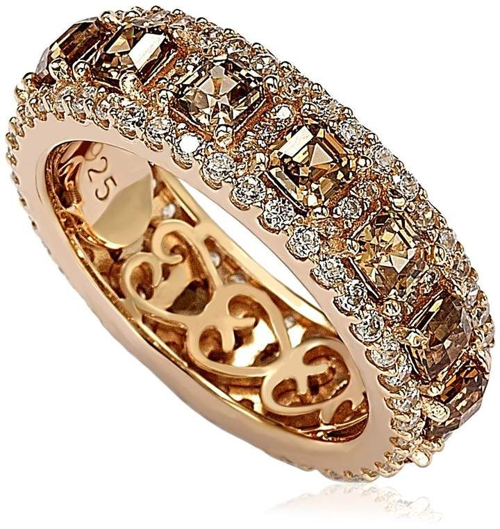 Asscher Cut White Cubic Zirconia Eternity Band Ring in 14k Rose Gold Over