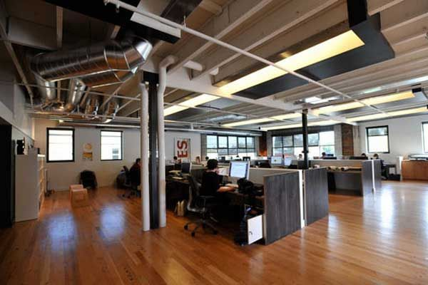 Industrial open office space l i g h t i n g pinterest for Commercial office space design ideas