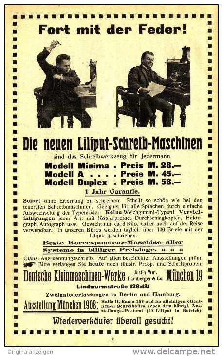 OriginalWerbung/Anzeige 1908 LILIPUT SCHREIBMASCHINEN