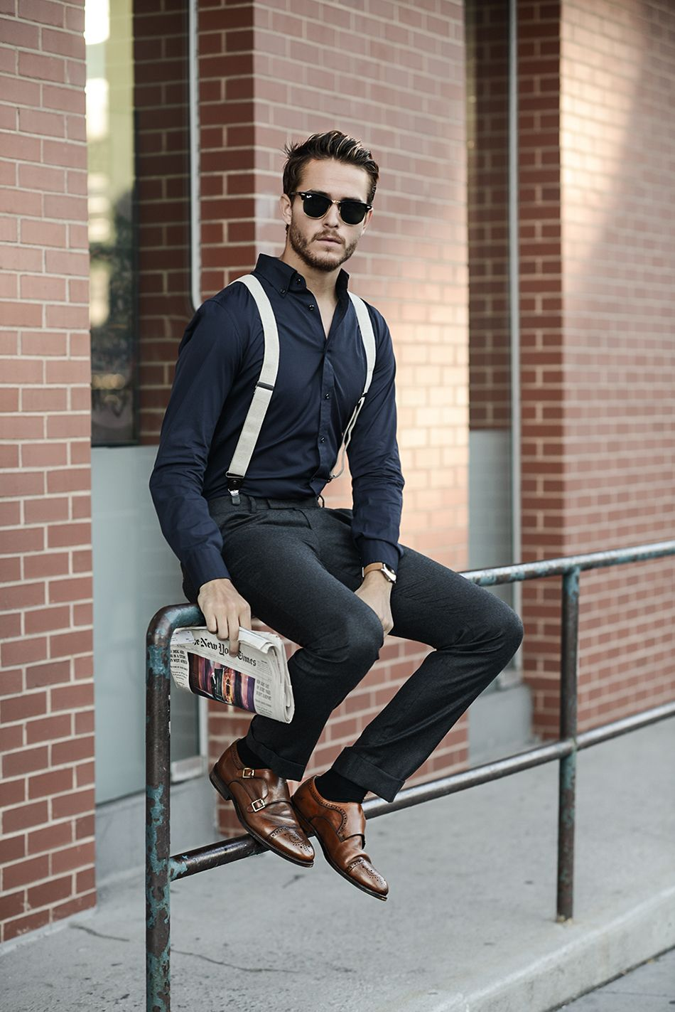 Men S Navy Dress Shirt Charcoal Dress Pants Brown Leather Double Monks Black Sunglasses Hipster Mens Fashion Mens Outfits Suspenders Outfit [ 1423 x 950 Pixel ]