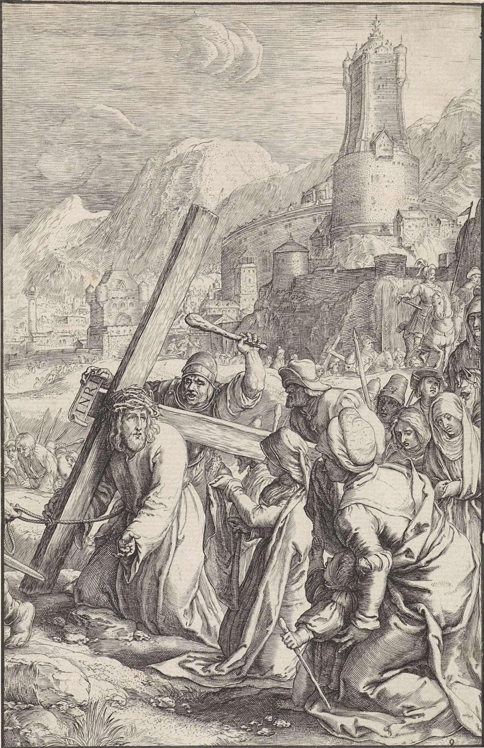 Ludovicus Siceram | Kruisdraging, Ludovicus Siceram, Hendrick Goltzius, 1623 | Christus draagt het kruis naar Golgota. Veronica knielt naast hem en biedt hem een doek aan. Achter hen de stoet met onder andere Maria en Johannes. Op de achtergrond Jeruzalem.