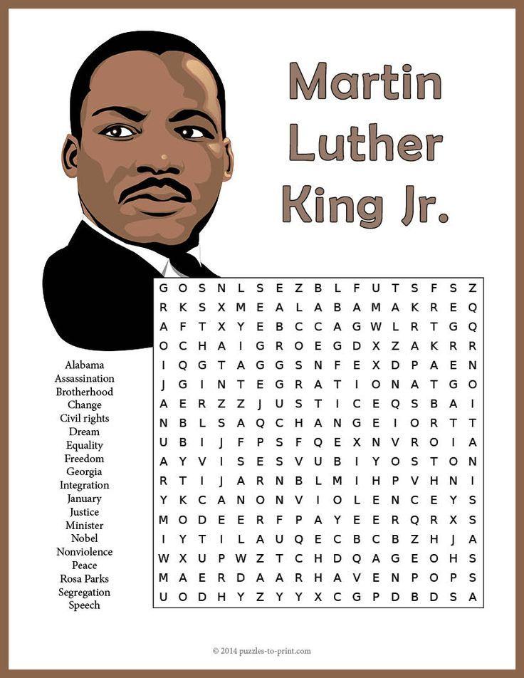 free printable martin luther king jr word search word games